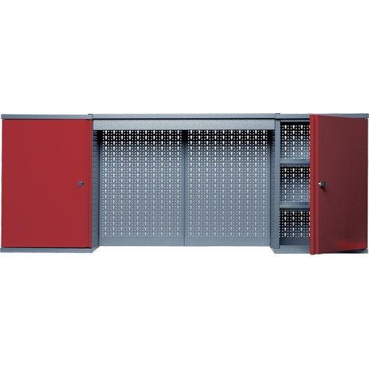 armoire de rangement en m tal rouge kupper 160 cm 2 portes. Black Bedroom Furniture Sets. Home Design Ideas