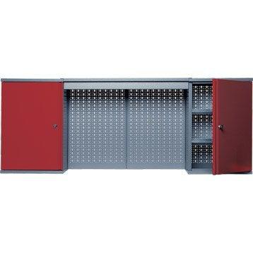 Armoire de rangement en métal rouge KUPPER 160 cm 2 portes