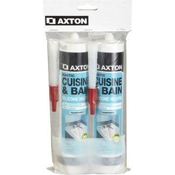 Lot de 2 mastics d'étanchéité AXTON cuisine et bain 310 ml blanc