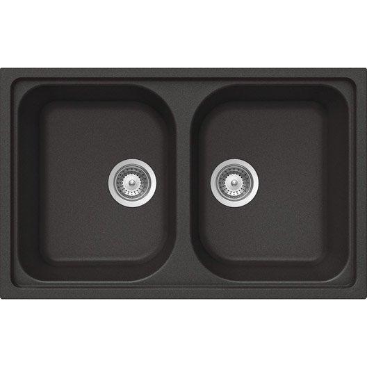 Evier encastrer granit et r sine noir lithos 2 bacs for Evier cuisine resine noir 2 bacs