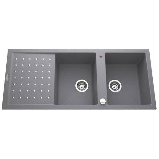 evier encastrer granit et r sine gris m tallis luna 2. Black Bedroom Furniture Sets. Home Design Ideas