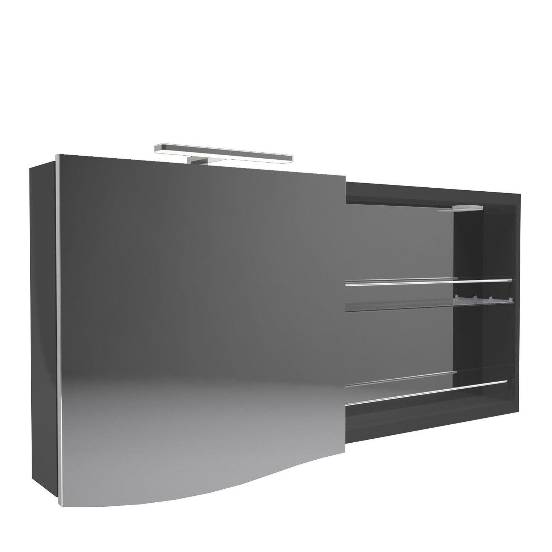 armoire de toilette lumineuse l 130 cm noir decotec el gance leroy merlin. Black Bedroom Furniture Sets. Home Design Ideas