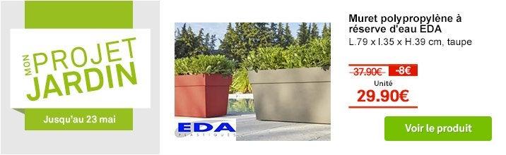 Jardinière polypropylène à réserve d'eau EDA L.79 x l.35 x H.39 cm taupe