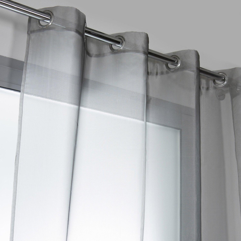 Voilage tamisant, Métal, gris clair, l.140 x H.250 cm | Leroy Merlin