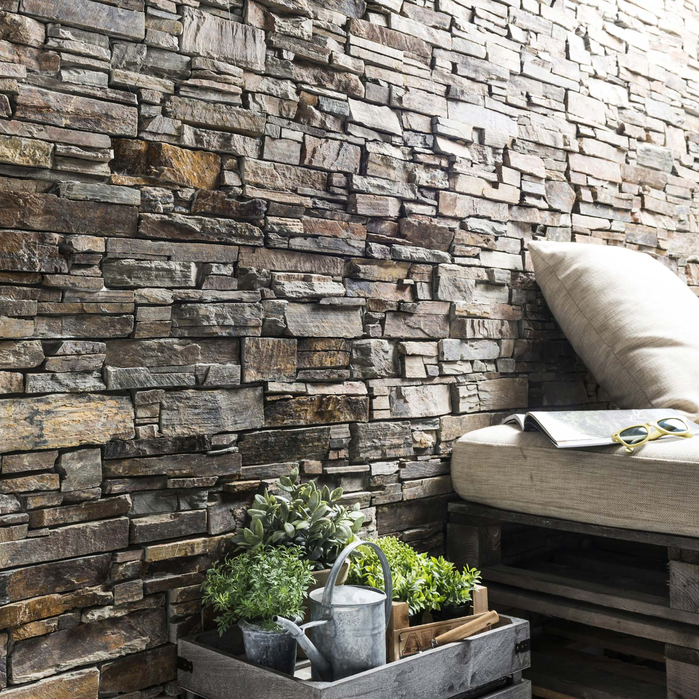 plaquette de parement pierre naturelle multicolore stonepanel leroy merlin. Black Bedroom Furniture Sets. Home Design Ideas