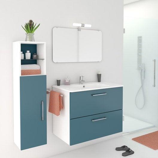 Meuble de salle de bains de 80 99 bleu happy leroy for Meubles sdb leroy merlin