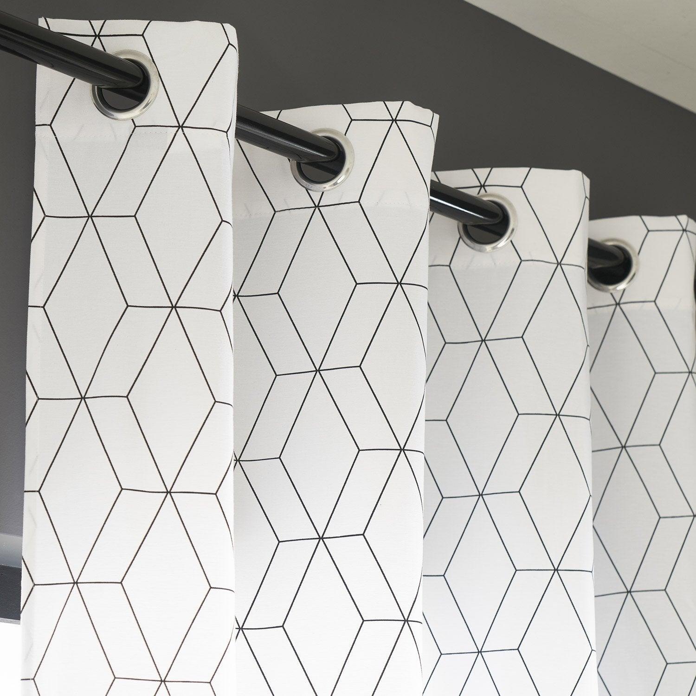 Rideau tamisant, Alex, blanc et noir, l.140 x H.260 cm INSPIRE