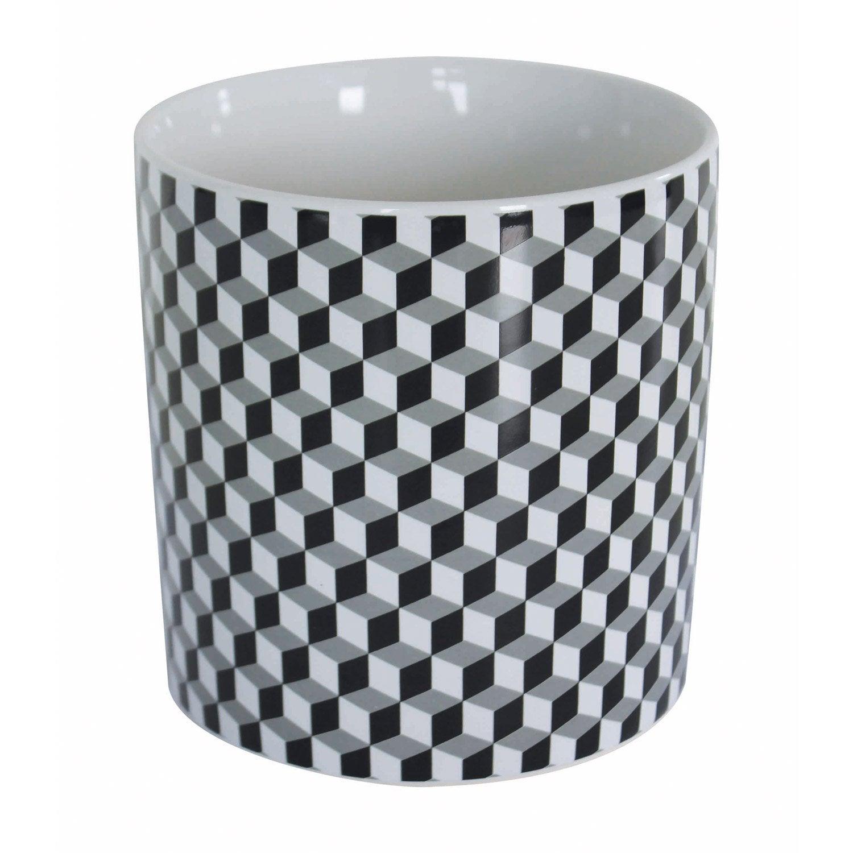 Pot range-couverts céramique noir blanc
