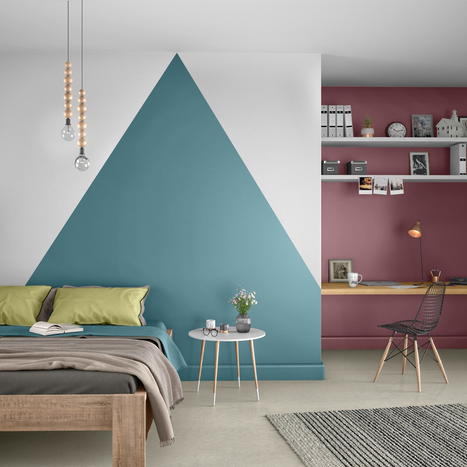 le mur reprend des couleurs dans la chambre leroy merlin. Black Bedroom Furniture Sets. Home Design Ideas