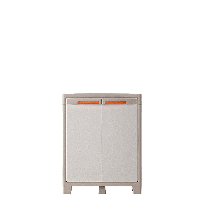 Armoire basse r sine 2 tablettes spaceo premium x x cm leroy merlin - Armoire utilitaire resine ...