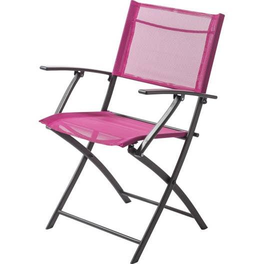 fauteuil de jardin en acier denver fuchsia leroy merlin. Black Bedroom Furniture Sets. Home Design Ideas