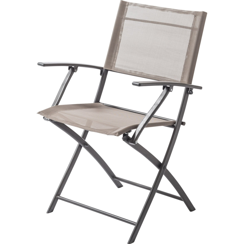fauteuil de jardin en acier denver taupe - Fauteuil Jardin Pliant