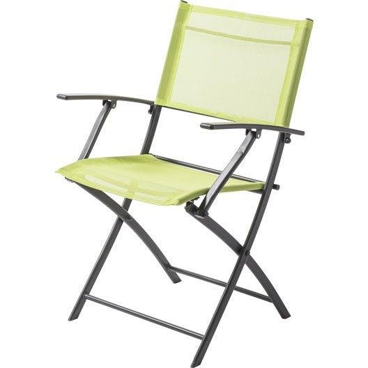 fauteuil de jardin en acier denver vert leroy merlin. Black Bedroom Furniture Sets. Home Design Ideas