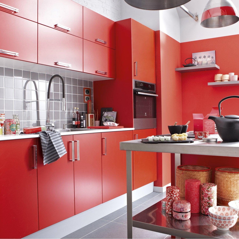 Meuble de cuisine rouge delinia d lice leroy merlin for Meuble de cuisine rouge