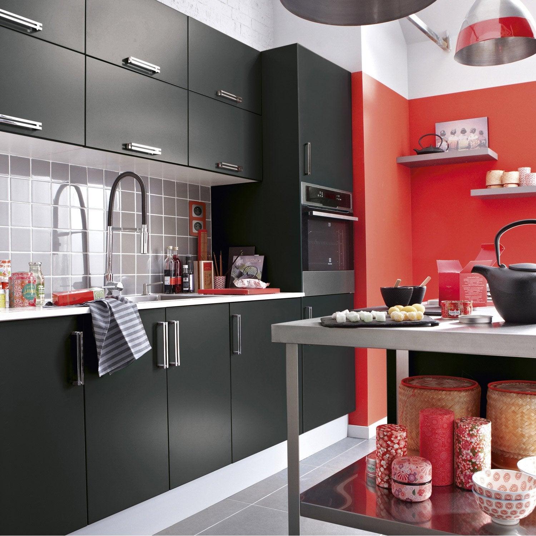 meuble de cuisine noir delinia délice | leroy merlin