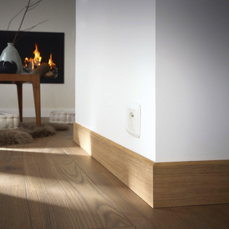 Plinthe placage chêne sans noeud arrondie, 12 x 120 mm, L.2.2 m ...