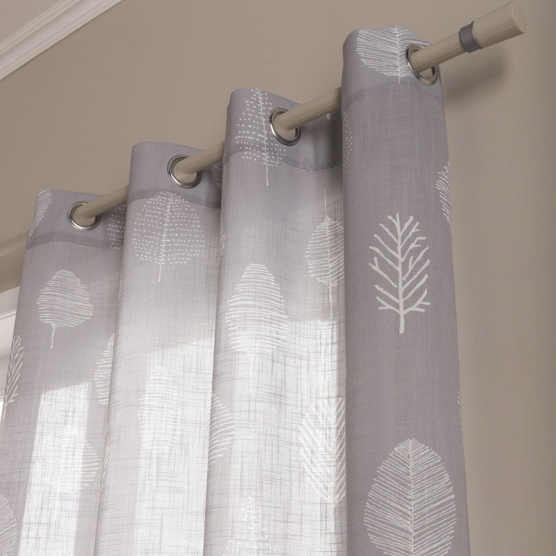 Rideau tamisant, Paco, gris / blanc, l.140.0 x H.260.0 cm | Leroy Merlin