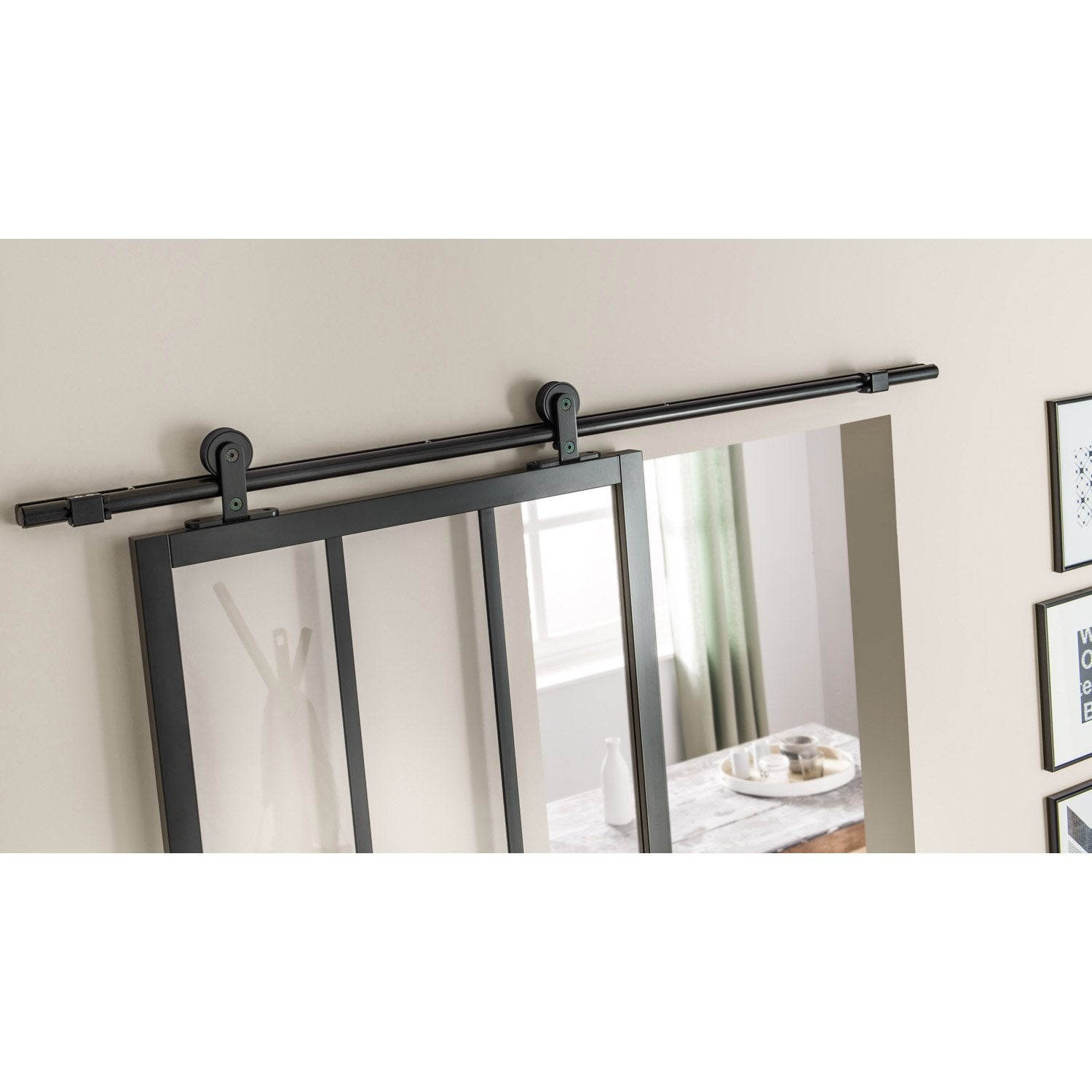 Charmant Rail Coulissant Bolero 2 Noir, Pour Porte De Largeur 93 Cm Maximum Inspirations De Conception