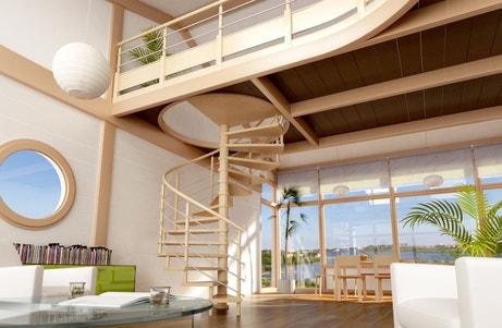 Une mezzanine avec un escalier en colimaçon