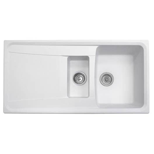 evier encastrer granit et r sine blanc roxana 1 5 bac. Black Bedroom Furniture Sets. Home Design Ideas