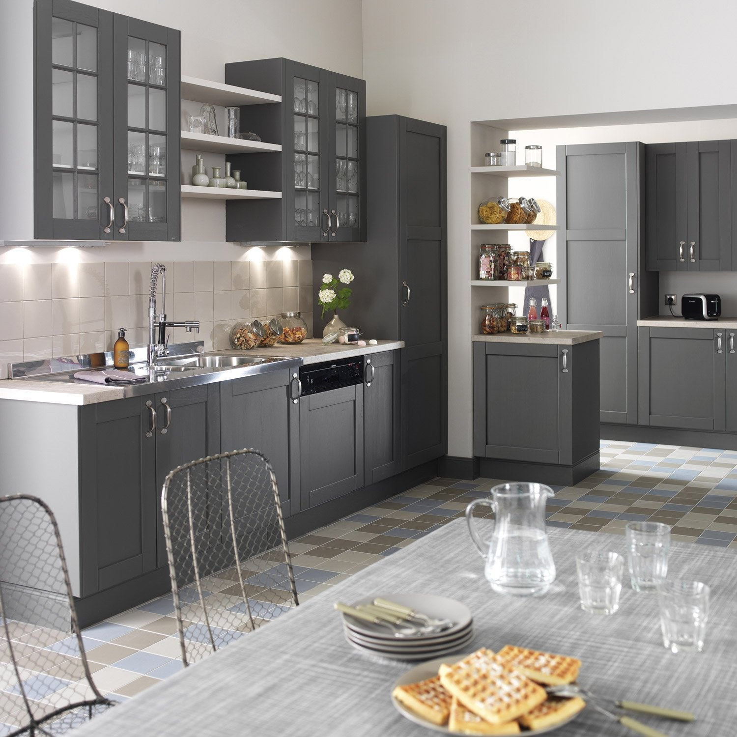 meuble de cuisine gris delinia nuage leroy merlin. Black Bedroom Furniture Sets. Home Design Ideas
