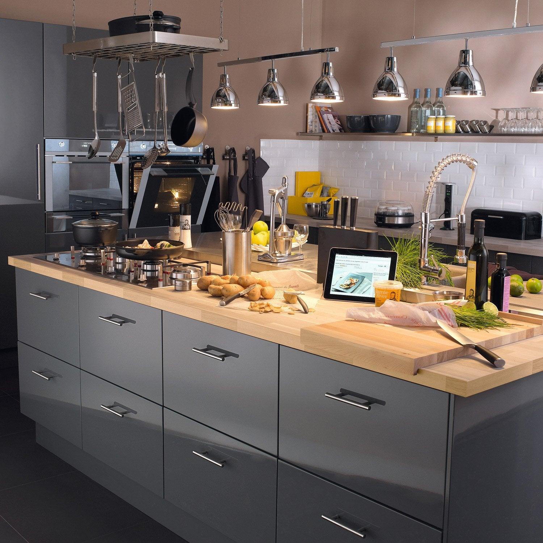 meuble de cuisine gris delinia rio | leroy merlin