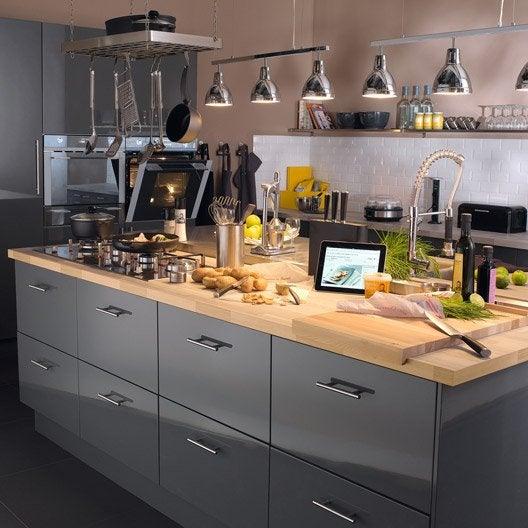 Meuble de cuisine gris delinia rio leroy merlin for Peinture meuble cuisine gris clair