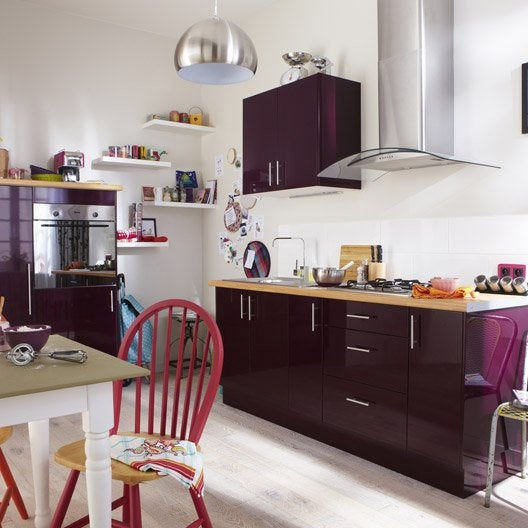 Best meuble de cuisine violet delinia rio with fixation for Fixer meuble haut cuisine placo