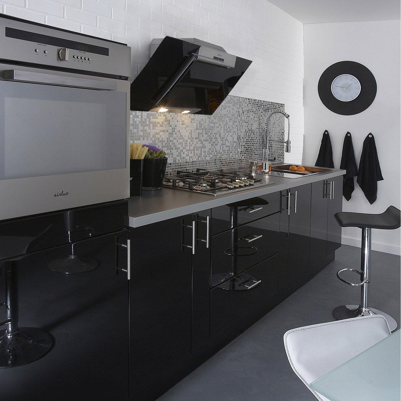 Meuble de cuisine noir DELINIA Rio | Leroy Merlin