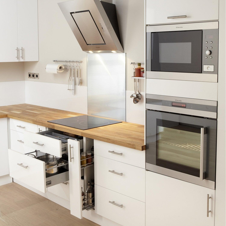 Meuble de cuisine blanc delinia rio leroy merlin for Meuble blanc cuisine