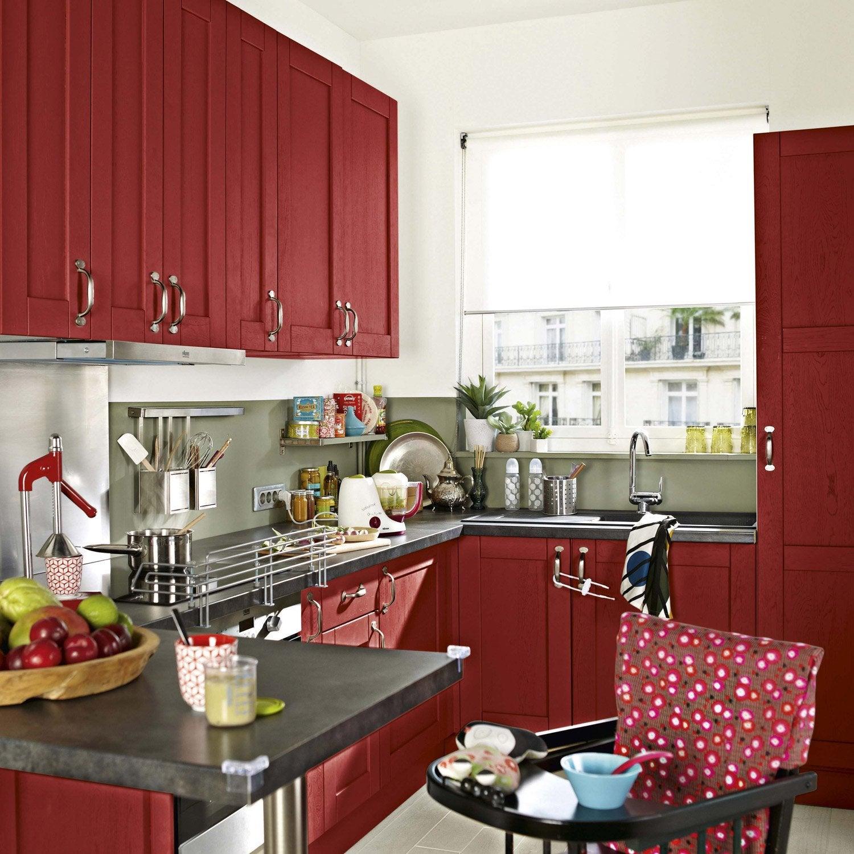 meuble de cuisine rouge delinia rubis | leroy merlin
