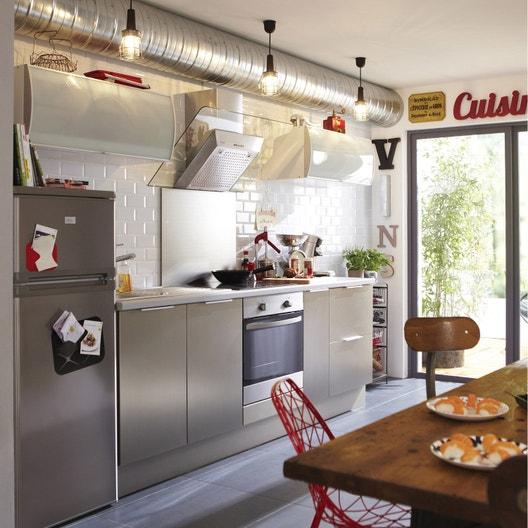 Meuble de cuisine décor aluminium DELINIA Stil | Leroy Merlin