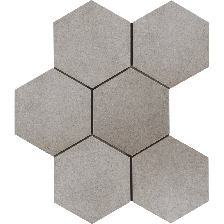 Carrelage sol et mur gris ciment effet béton Time l.40 x L.40 cm ... - Carrelage Hexagonal Sol