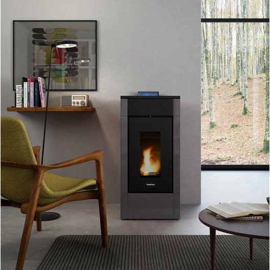 po le granul s freepoint easy air noir anthracite 6 7 kw leroy merlin. Black Bedroom Furniture Sets. Home Design Ideas