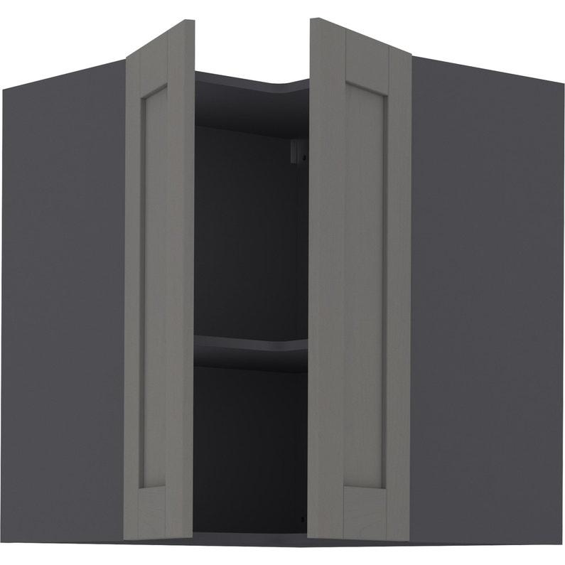 Meuble haut d\'angle de cuisine Boston gris, 2 portes H.77 l.67 cm x p.35 cm
