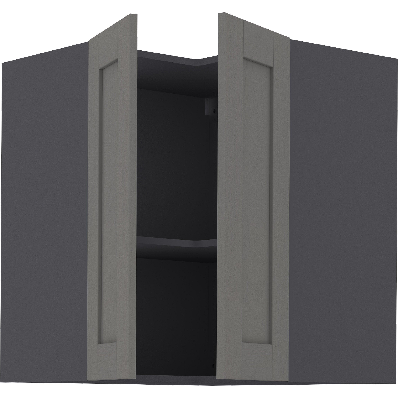 Meuble haut d\'angle de cuisine Boston gris, 2 portes H.77 l.67 cm x ...
