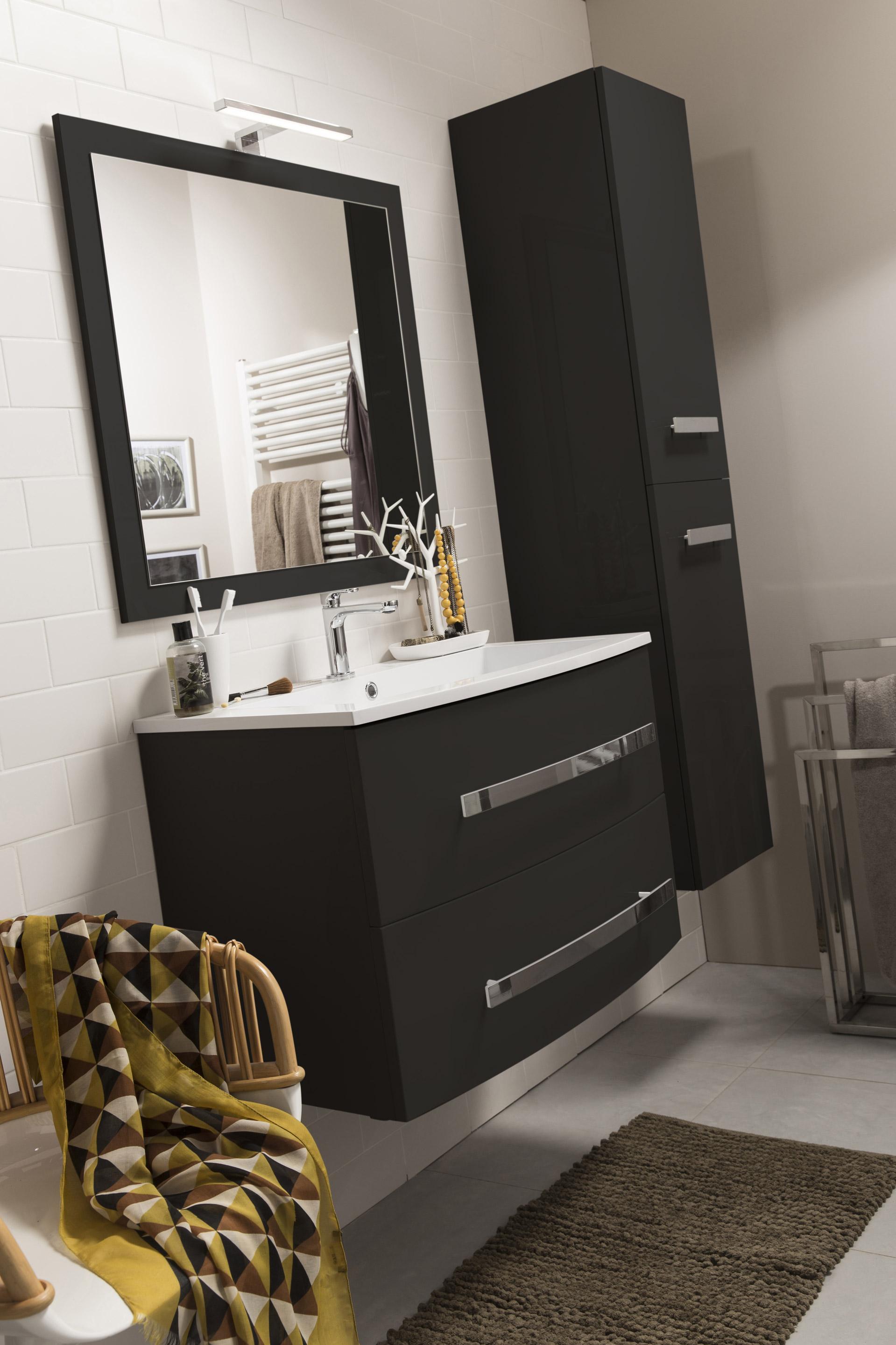 Meuble simple vasque l.81.2 x H.53.7 x P.47 cm, noir, Perla