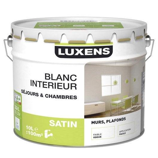 Peinture murs et plafonds luxens satin 10l leroy merlin for Peinture plafond satin