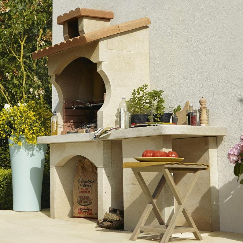 Barbecue En Beton Blanc Et Orange Cusco L 62 X L 180 X H 168 Cm
