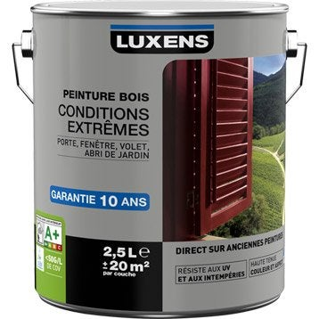 Peinture bois extérieur Conditions extrêmes LUXENS, blanc blanc n°0, 2.5 l