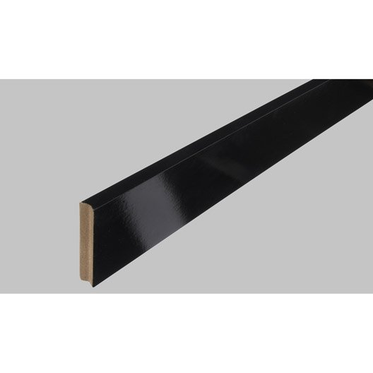 plinthe m dium mdf carr e rev tu m lamin noir brillant 10 x 70 mm l 2 2 m leroy merlin. Black Bedroom Furniture Sets. Home Design Ideas