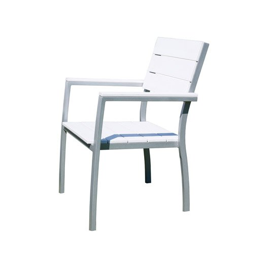 fauteuil de jardin en aluminium compo blanc et gris leroy merlin. Black Bedroom Furniture Sets. Home Design Ideas