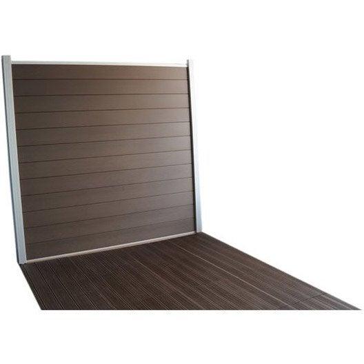 Lame composite à emboîter Kyoto brun clair, L.176 x H.15 cm x Ep.21 mm