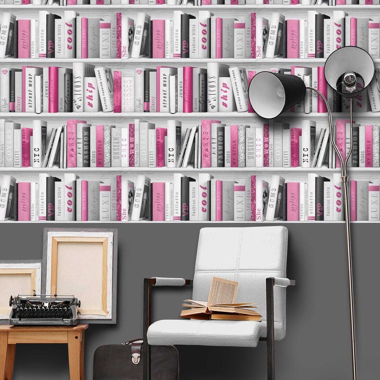 papier peint papier pink biblio rose rose leroy merlin. Black Bedroom Furniture Sets. Home Design Ideas