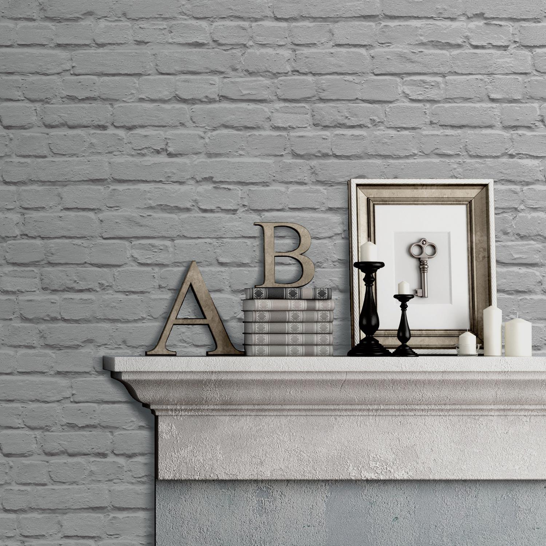 Papier peint papier Brique gris | Leroy Merlin