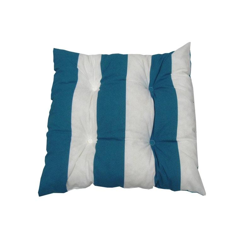 Coussin D Assise De Chaise Ou De Fauteuil Biarritz Jardin Prive Bleu L 38xh 8cm