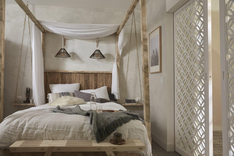 Une chambre parentale bois et matières naturelles  Leroy Merlin