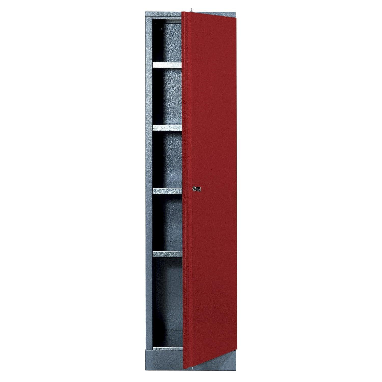 armoire de rangement en métal rouge kupper 45.5 cm 1 porte | leroy