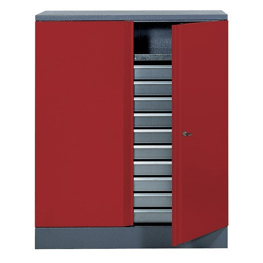 armoire de rangement en m tal rouge kupper 91 cm 1 porte 10 tiroirs leroy merlin. Black Bedroom Furniture Sets. Home Design Ideas