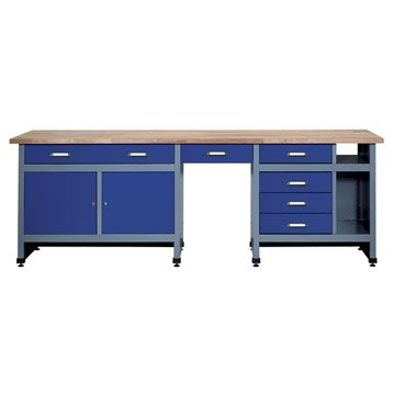Etabli de mécanicien KUPPER, 240 cm, bleu, 6 tiroirs et 2 portes